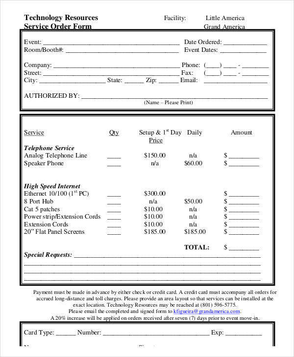 technology resources service order form