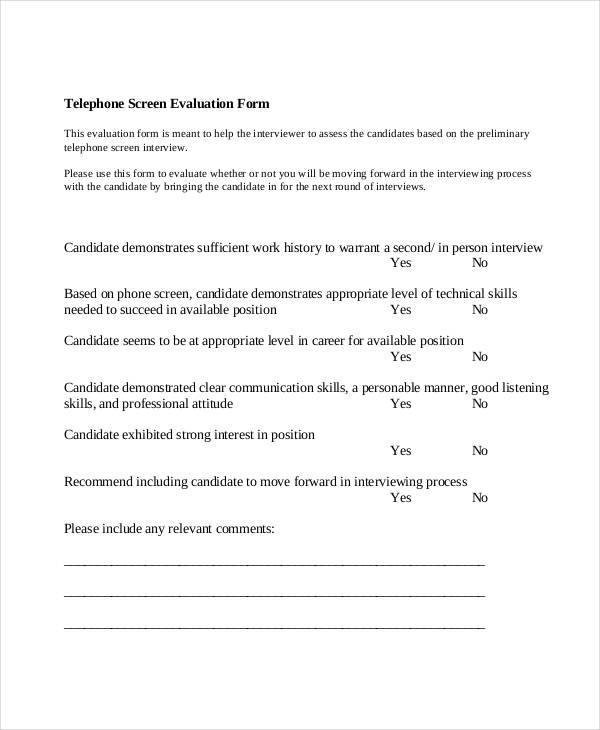 telephone screen interview evaluation form1