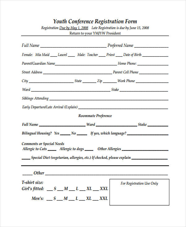 template youth conference registration form