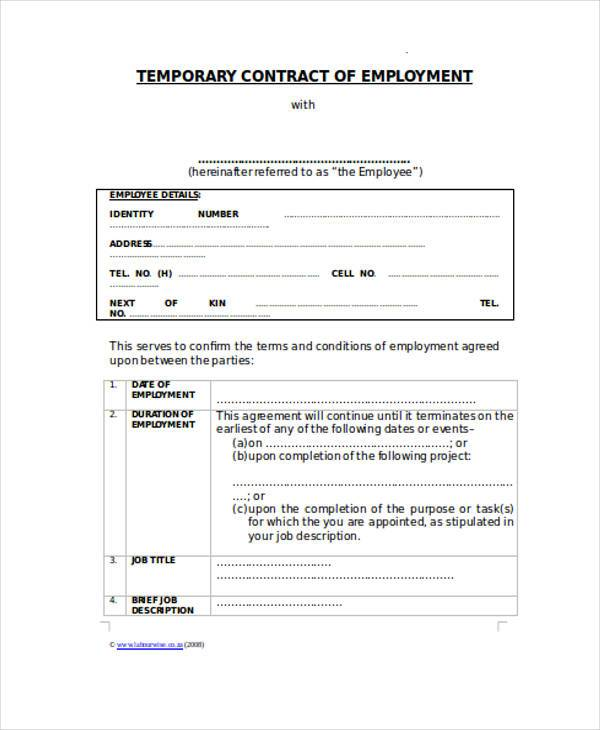 Sample contract forms for Temporary employment contract template free