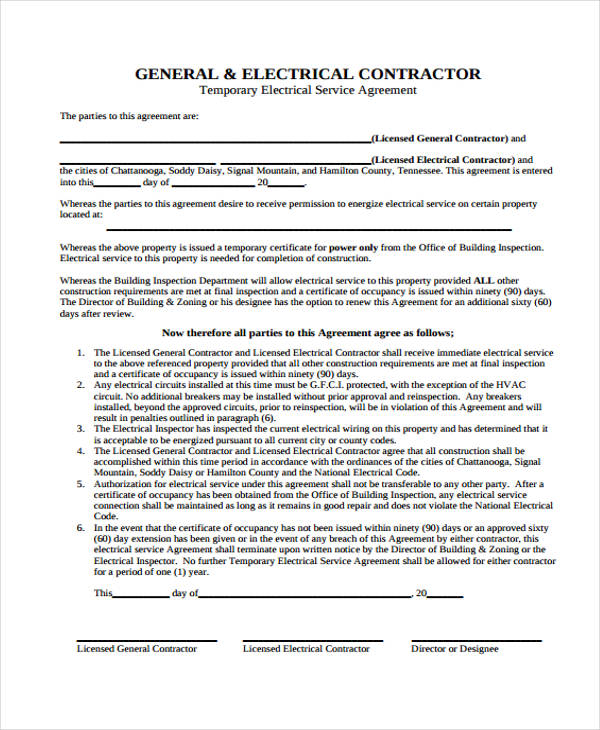 temporary electrical service agreement form