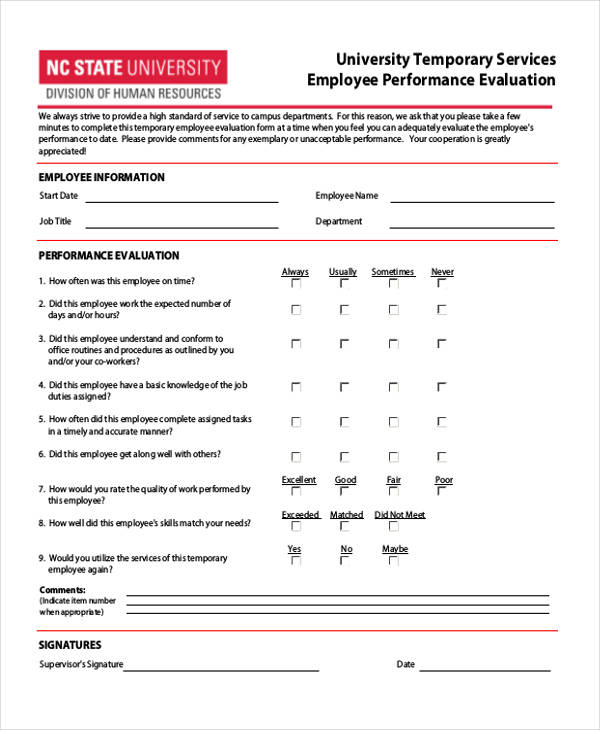temporary employee performance evaluation form