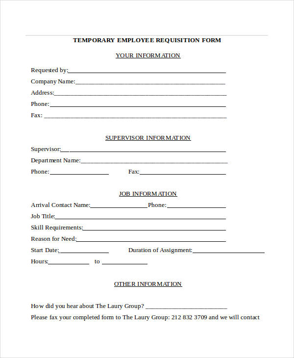 Employee Requisition Form. Recruitment Forms And Templates 23 Best
