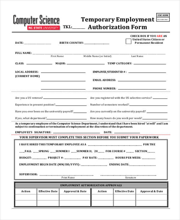 temporary employment authorization form