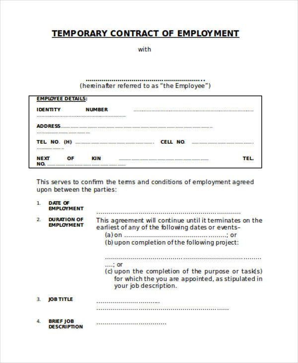 temporary employment contract agreement form