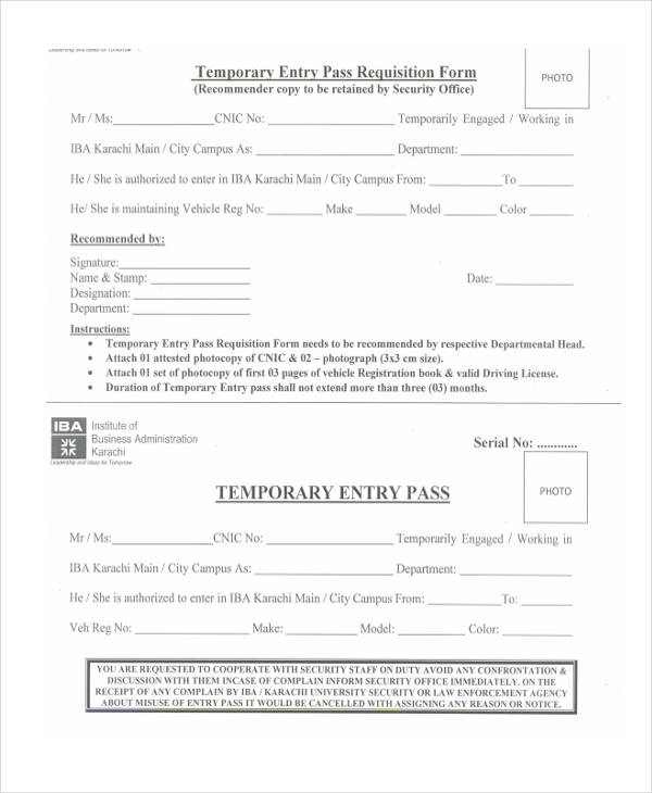 temporary entry pass requisition form