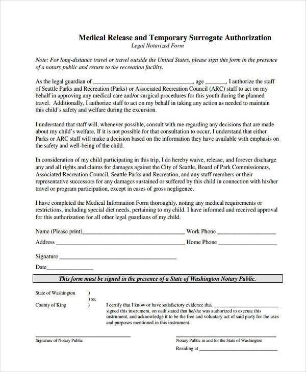temporary medical release form