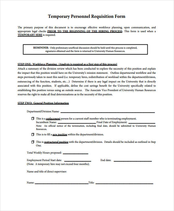 temporary personnel requisition form
