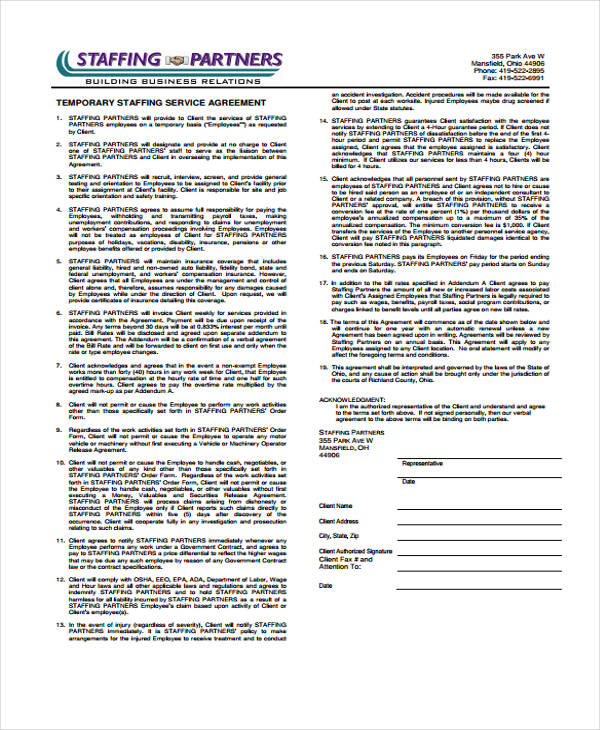 temporary staffing service agreement form