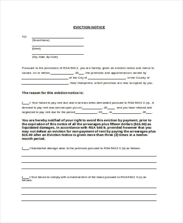 Notice Form Examples - Formal eviction notice template