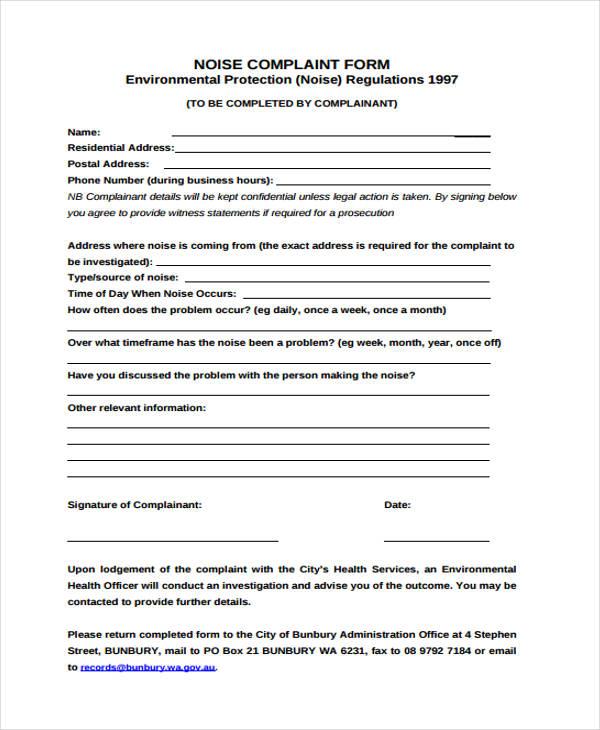 tenant noise complaint form