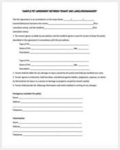 tenant pet agreement form