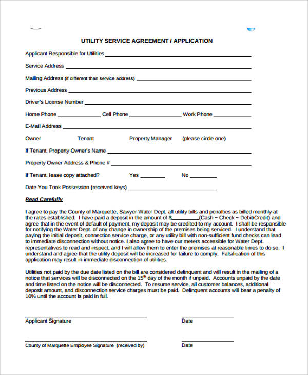 tenant utility service agreement form