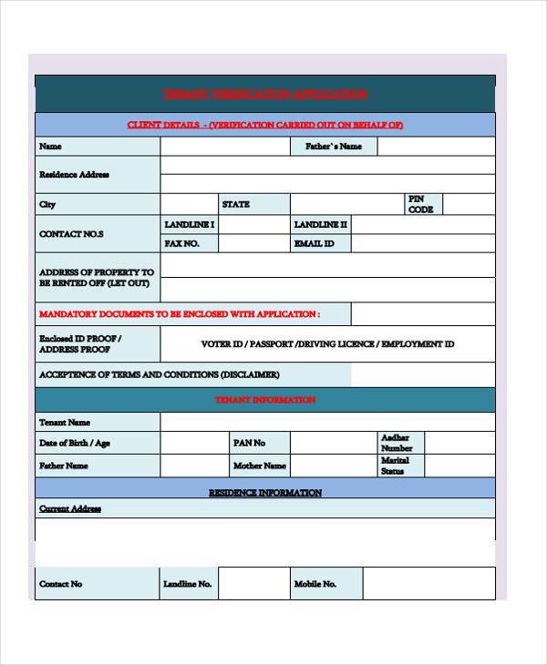 tenant verify application form
