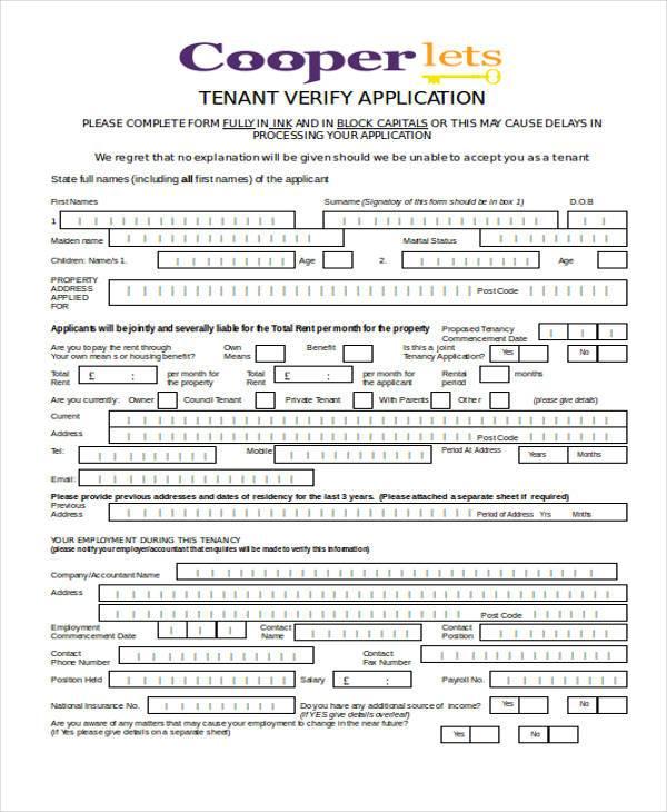 tenant verify application form1