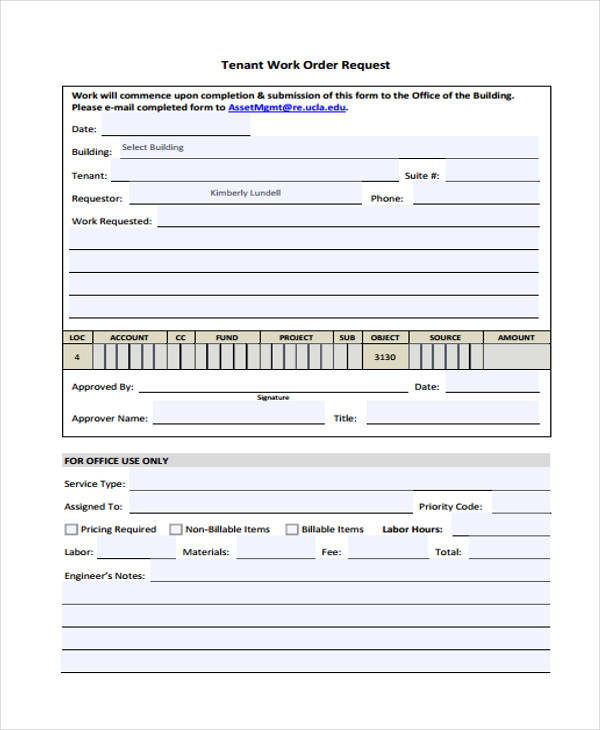 Work Order Form Template - Tenant work order form template
