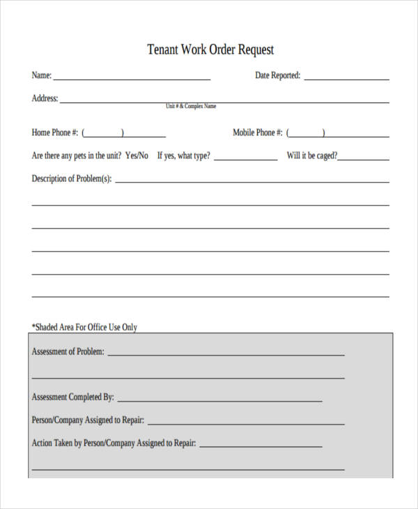tenant work order request form