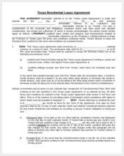 texas residential lease agreement form