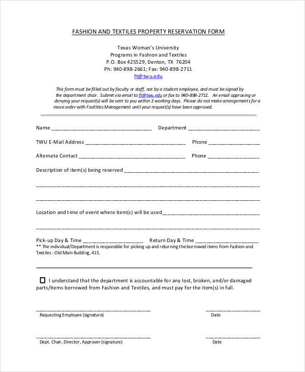 textiles property reservation form