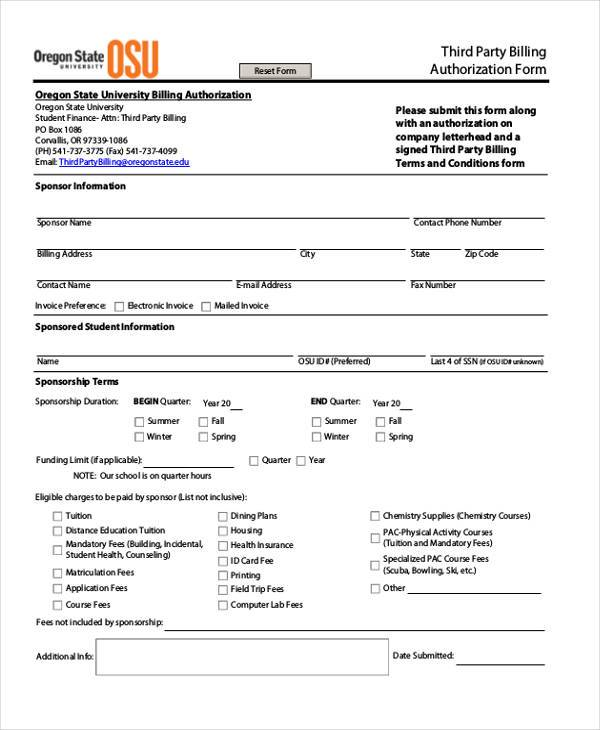 third party billing authorization form