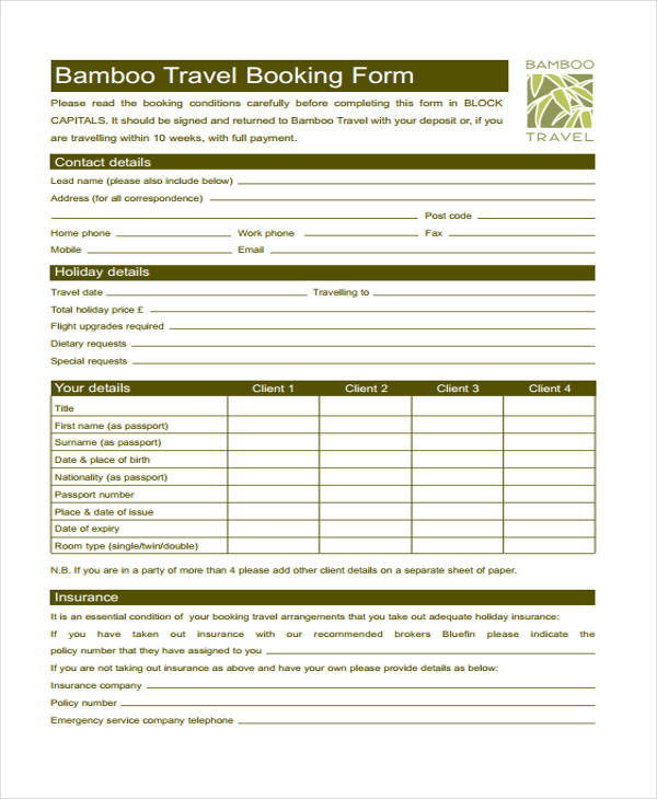 tour and travel enquiry form