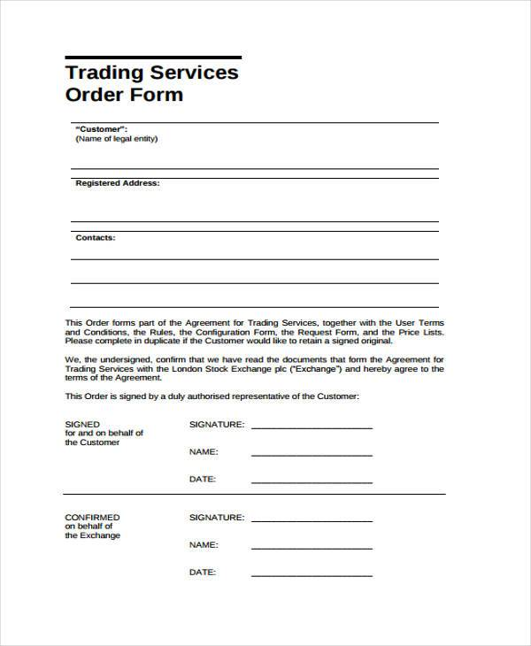 trading services order form