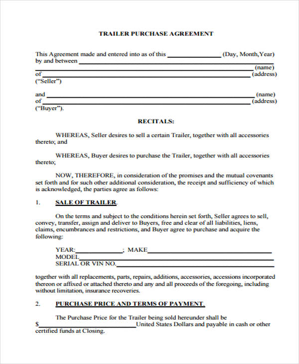 trailer cash purchase agreement form