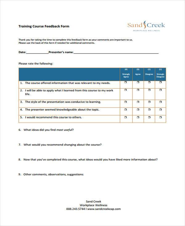 Feedback form templates training course feedback form template pronofoot35fo Gallery