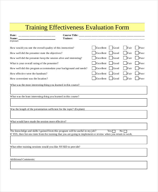 Training Evaluation Form Word Template Anesthesia Technician Cover Free  Fancy Numbered Rows Simple Course Evaluation From Formville Doc 12631189  Sample ...