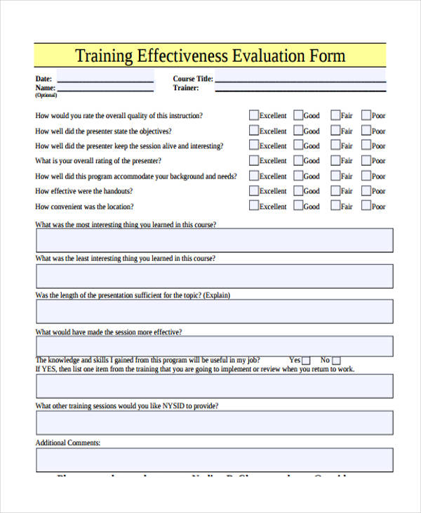 Printable Training Evaluation Forms