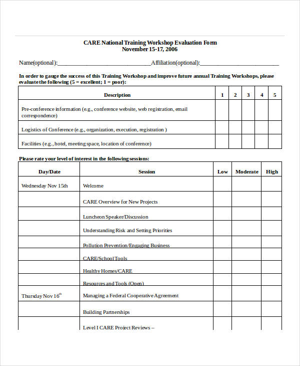Meeting Evaluation Form Meeting Evaluation Form Project Evaluation
