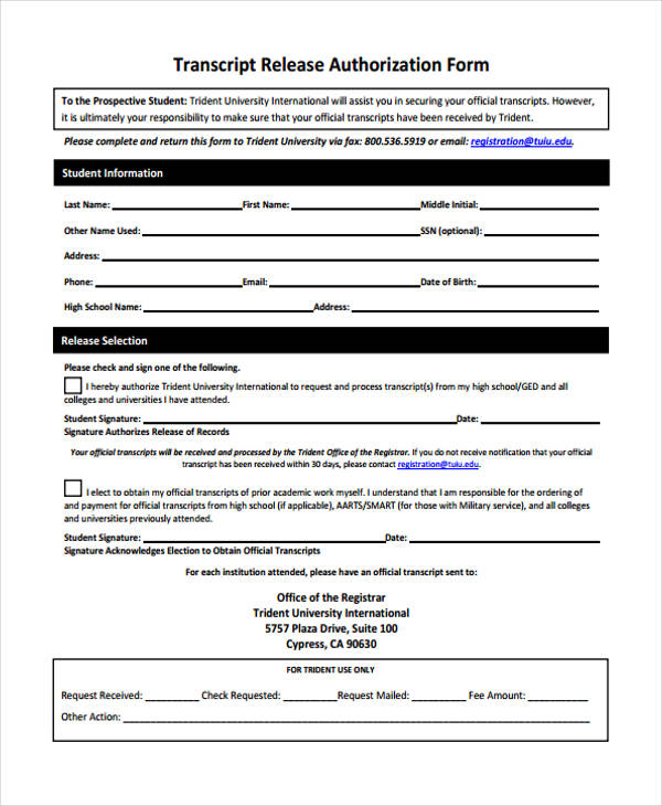 transcript release authorization form in pdf