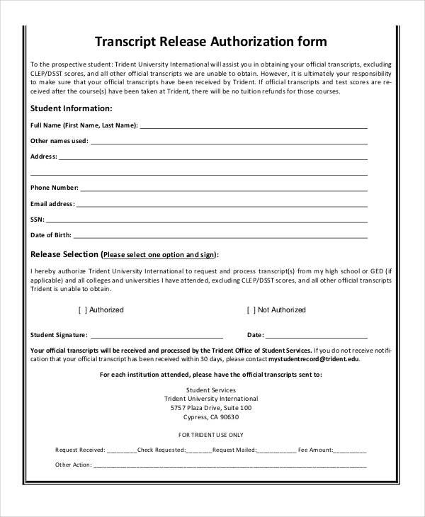 transcript release authorization form