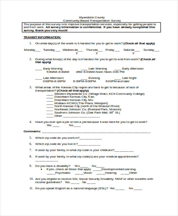 transportation customer survey form