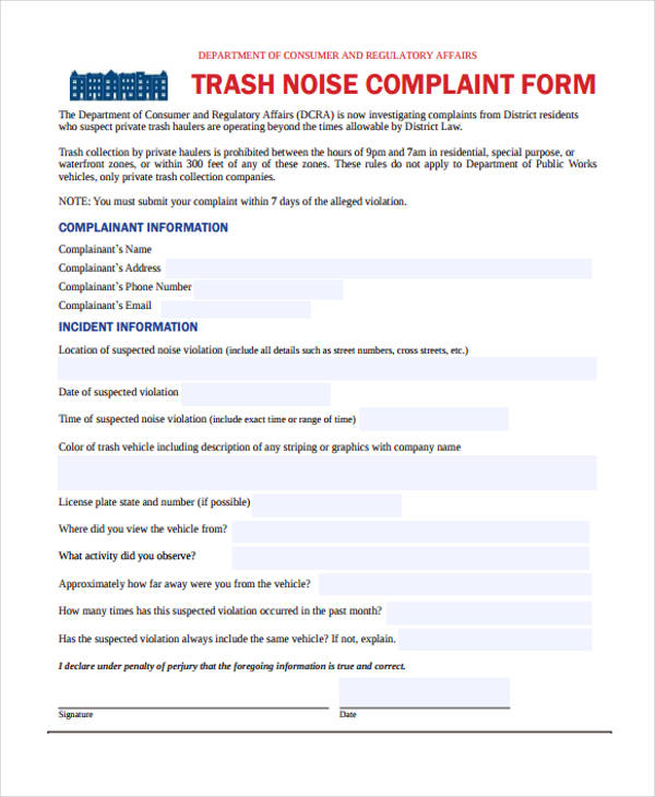 trash noise complaint form in pdf