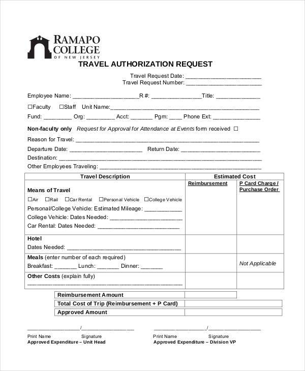 travel authorization request form