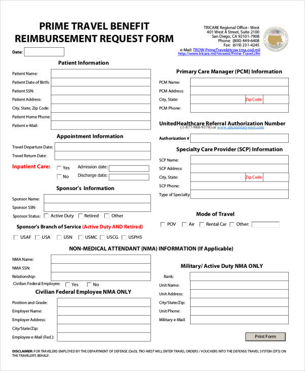 travel benefit reimbursement request form