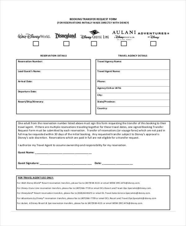 travel booking transfer request form
