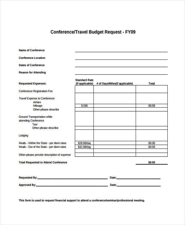 mission trip budget template