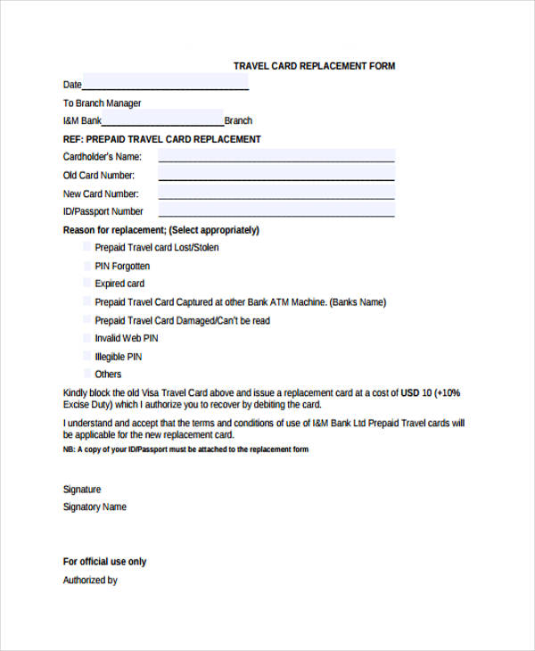 travel card replacement form
