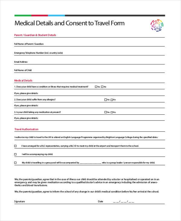 ... Child Travel Consent Form