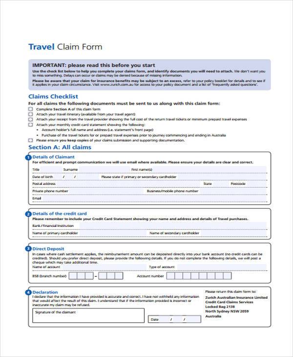 travel claim services claim form