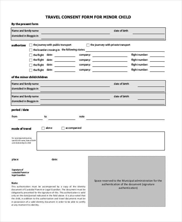 travel consent form sample