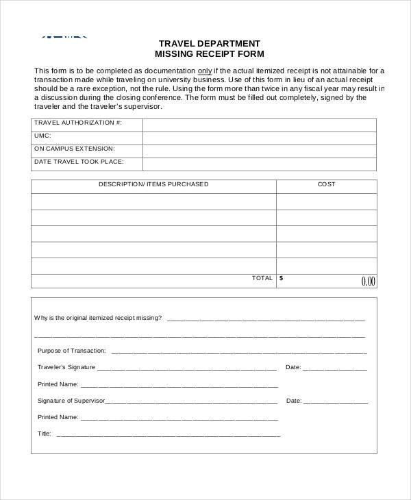 travel department missing receipt form3