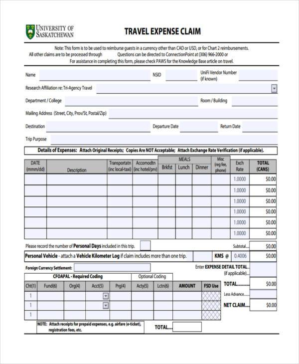 travel expense claim form