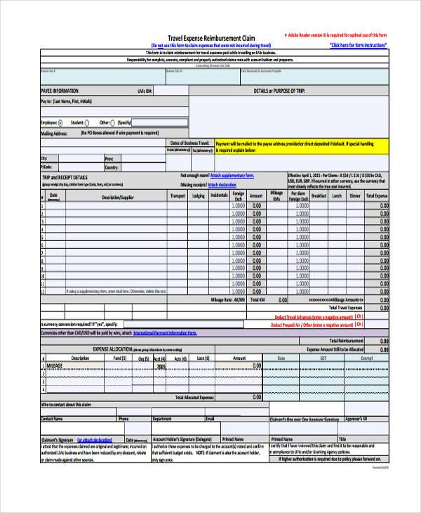 Sample Mileage Reimbursement Forms