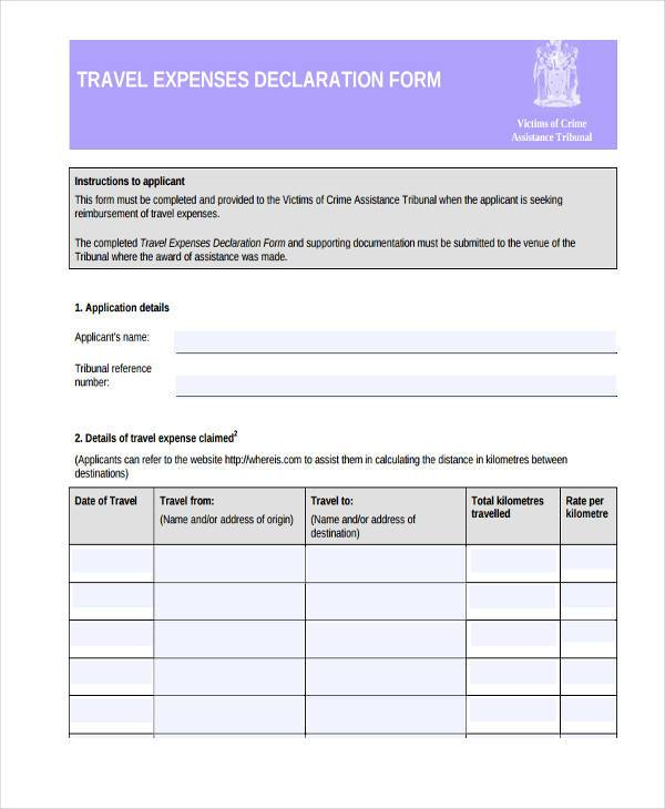 travel expenses declaration form