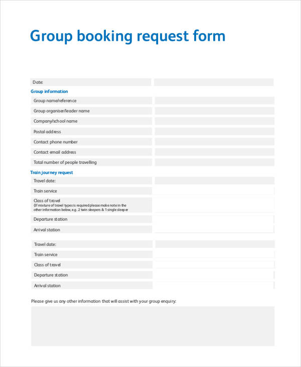 travel group booking request form