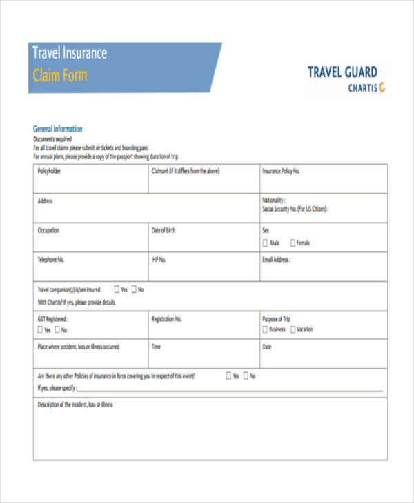 travel guard claim form