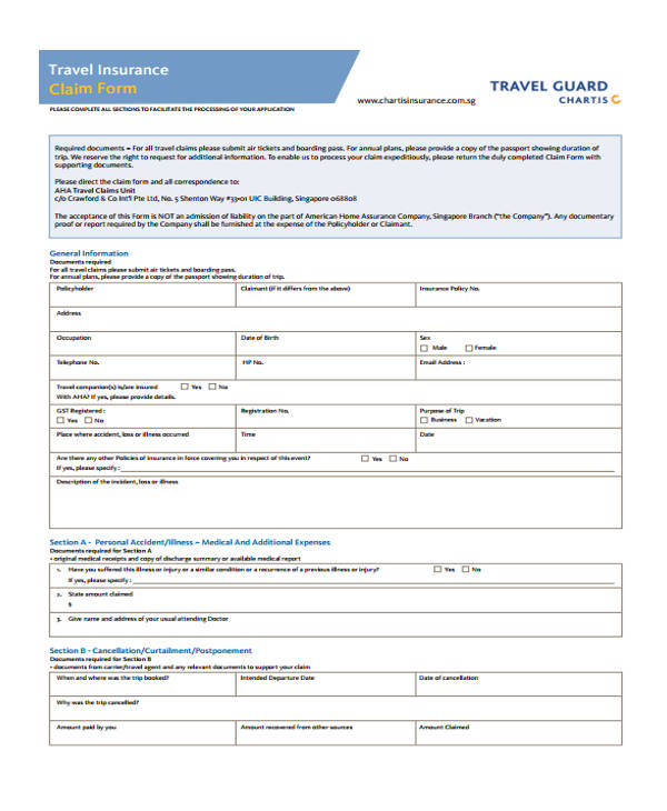 Travel-Guard-Claim-Form1 Form To Claim Medical Expenses on dgehs modified, for dental,